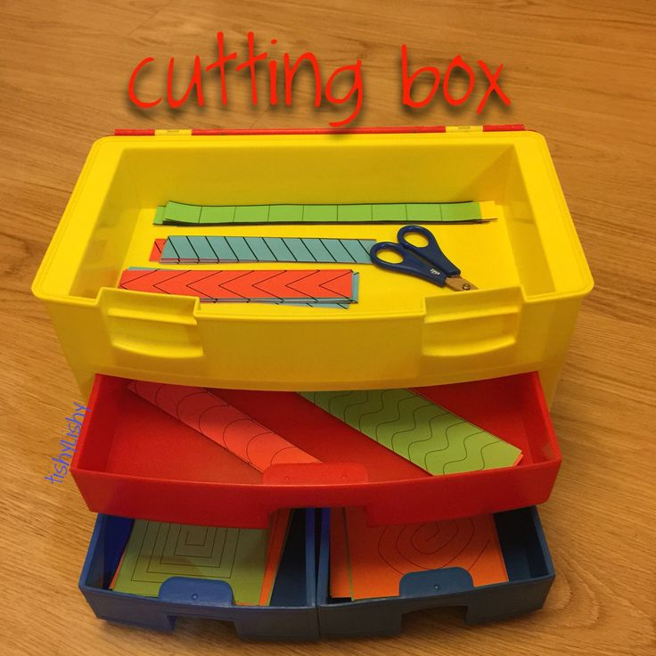 Cutting box to practice those skills. Sheets from http://alphaslacatalane.canalblog.com/archives/2013/09/19/28053483.html
