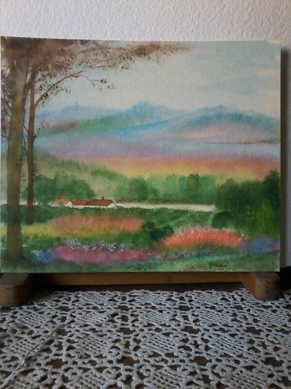 Alba di casa mia.....colori rarefatti e poi sinceri...Acquarello su cartoncino.