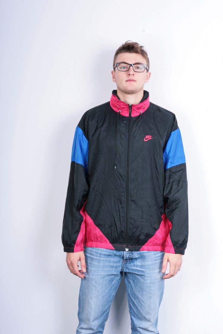 Nike 90s Mens XL Jacket Track Top Bomber Black Nylon Waterproof Vintage Retro Tracksuit