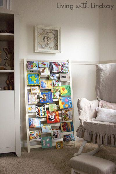 DIY crib rail into book shelf