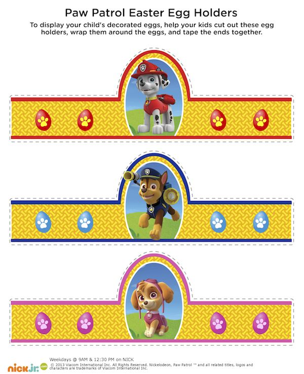 Free printable Paw Patrol Easter egg holders.