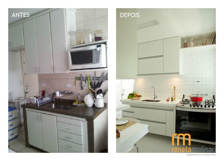 Projeto cozinha inteiramente reformada, e modernizada . #antesdepois. #cozinha #tile #reformaapartamento #designinteriores @renatamolinariarq