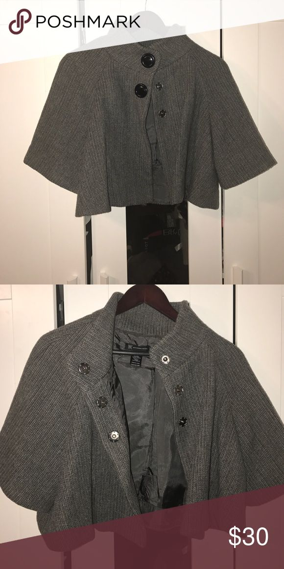 Grey shrug with button detail and bell sleeves. Greg shrug with snap button closure. INC International Concepts Jackets & Coats