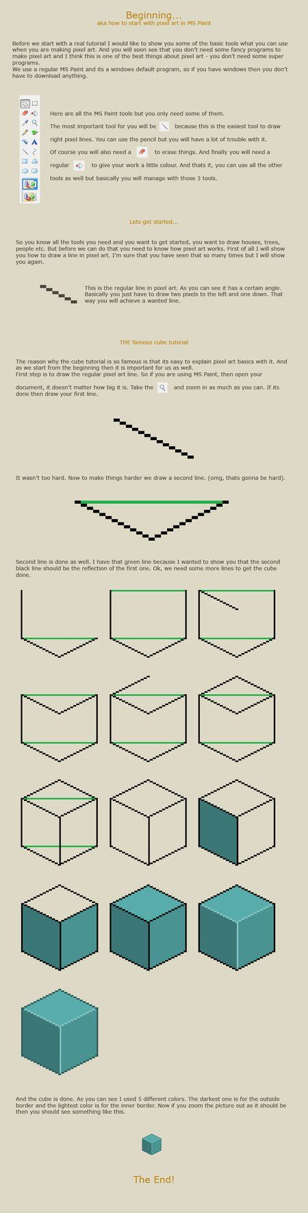 How to start with pixel art by vanmall http://vanmall.deviantart.com/art/How-to-start-with-pixel-art-121520884