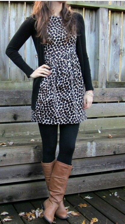 Print dress with black fleece lined leggings, brown boots and black wool peacoat