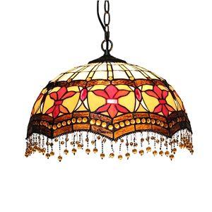 16 inch Suspension style rétro jardin européen abat-jour en verre de couleur Perles de verre pendentifs luminaire pour salon chambre salle à manger cuisine
