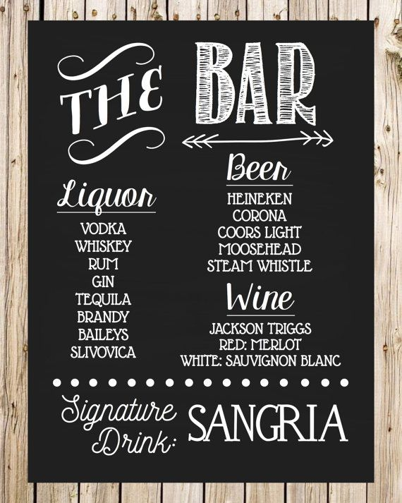 Wedding Drink Sign, Bar Sign, Signature Drink, Chalkboard Style, Alcoholic Sign…