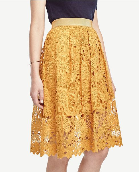Yellow floral lace skirt. Ann Taylor.