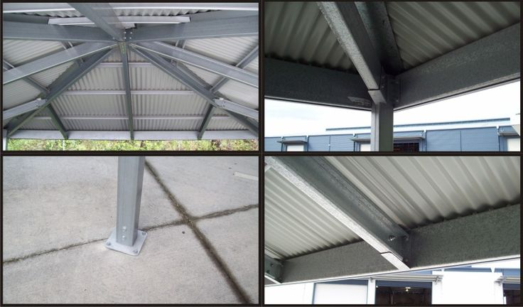 Internal Structure For Hip Roof Carport Showing Steel