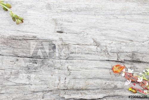 Natural wood texture and flower