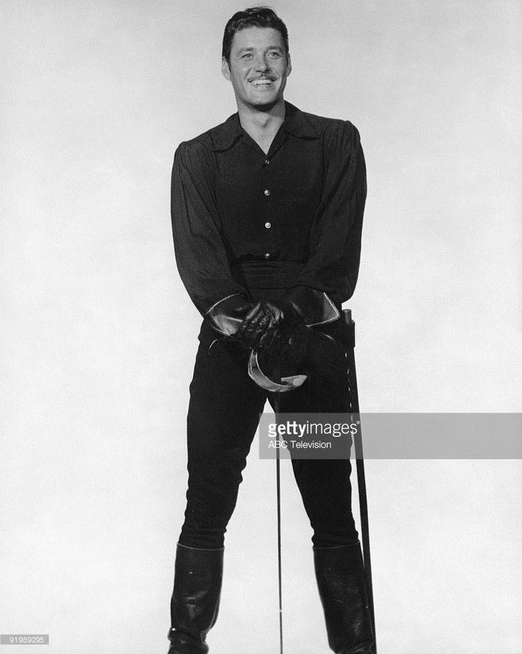 American actor Guy Williams (1924 - 1989) in his role as Don Diego de la Vega, aka Zorro, in the swashbuckling TV series 'Zorro', 1960.
