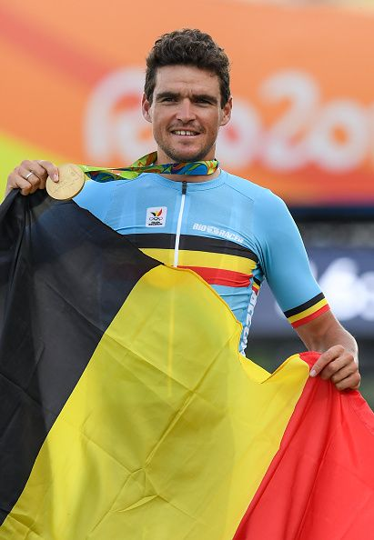 #RIO2016 Best of Day 1 - Greg van Avermaet of Belgium with his gold medal following the Men's Road Race during the 2016 Rio Summer Olympic Games in...