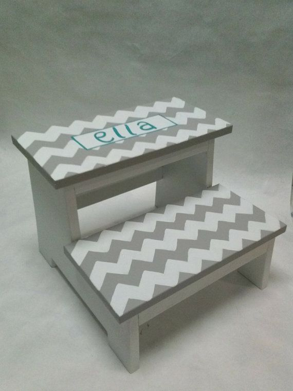 step stool chevron with name by wouldknots on etsy