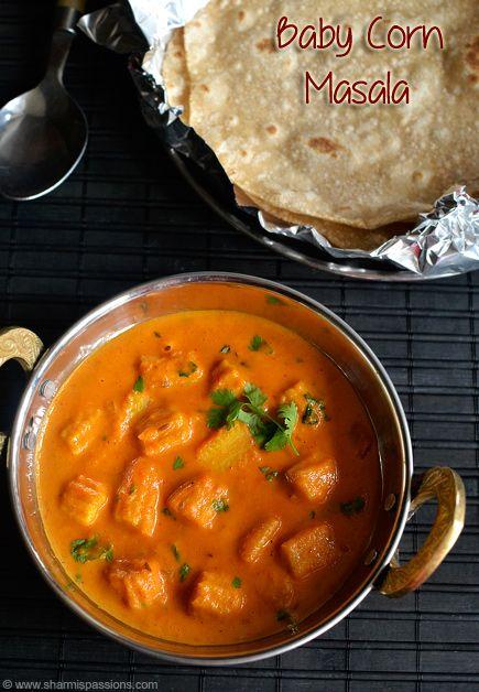 Baby Corn Masala Recipe - How to make baby corn gravy Recipe courtesy of Sharmis passions