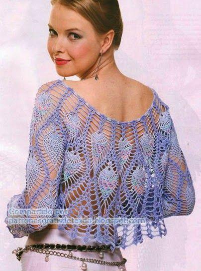 Bolero lila con diseño de piñas | Crochet y Dos agujas