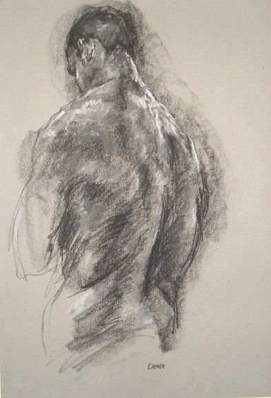 gesture drawing, Male Back - Figure drawing in pastel and conte by Derek Overfield