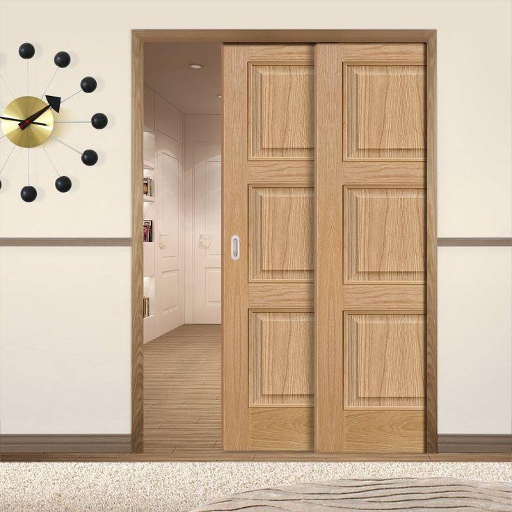 Twin Telescopic Pocket Brienz 3P Oak Veneer Doors - Prefinished.      #pocketdoor  #interiordesign  #oakdoor  #telescopicdoors