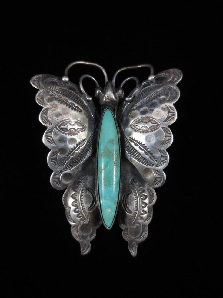 Vintage Navajo Silver and Turquoise Butterfly Pin