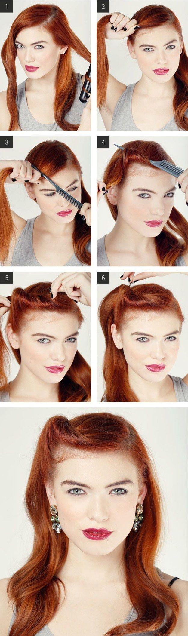 Inspírate en el look de las pin ups. | 17 Peinados sencillos para dominar tu cabello