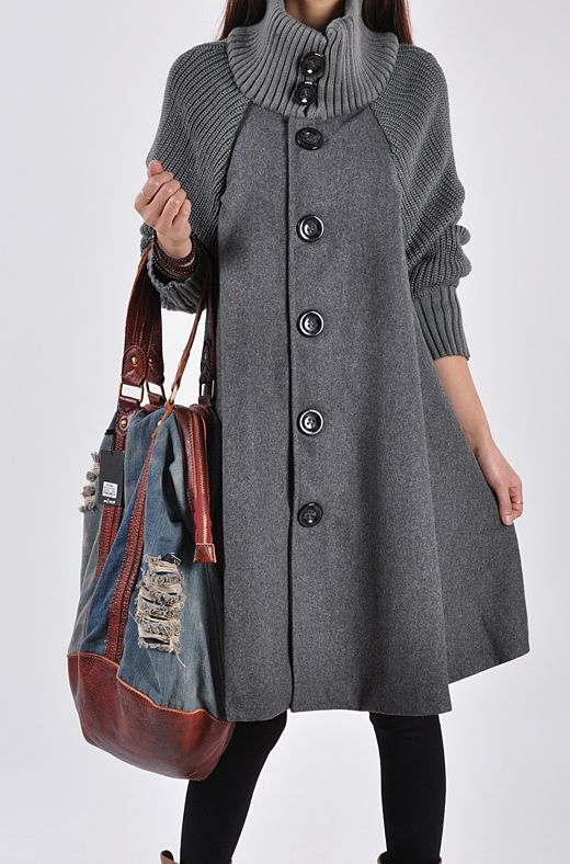 Grey Long Sleeve Contrast Knit Button Cape GBP£23.87