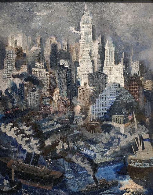 "George Grosz (German, 1893 - 1959  ~   ""Lower Manhattan"", 1934"
