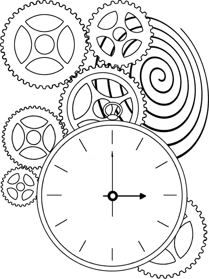 Steampunk Clock Drawing Kids Pages