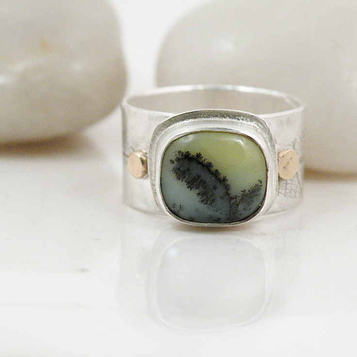 Sterling Silver Opal Wide Band Ring with 14k Gold - Weeping Willow Ring Size 9Wide Band Rings, Opals Wide, Gemstones Wide, Birthday, Wide Sterling, Jewelry, Silver Opals, Sterling Silver Rings, Yellow Opals