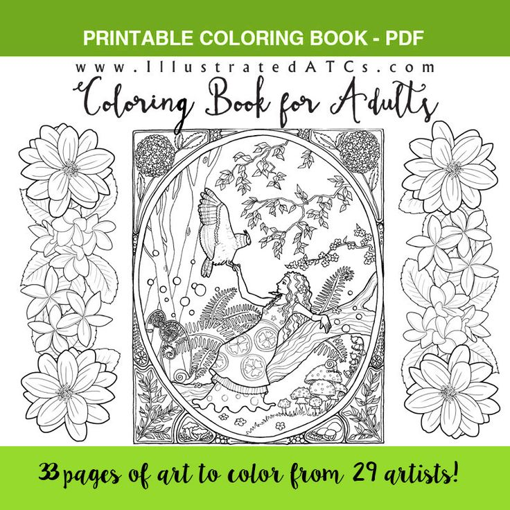 Adult Coloring Book Featuring IllustratedATCs Artists