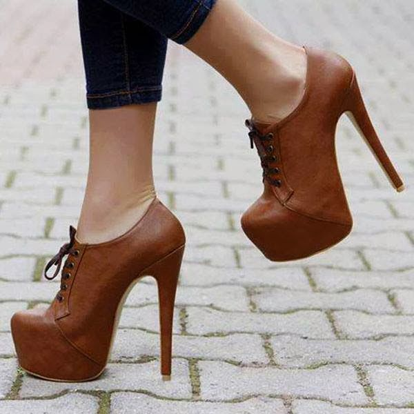 Attractive Closed Toe Stiletto Heel Lace-up Ankle Boots
