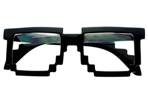 Clear Pixelated 8 Bit Glasses In Shiny Black P091 Clear Lens Sunglasses Glasses Party Sunglasses