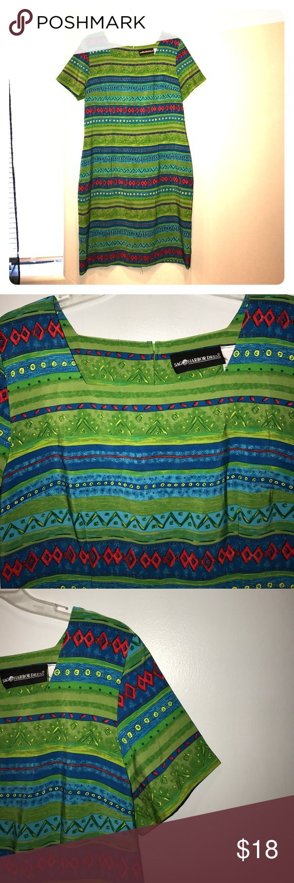 Sag Harbor Green Blue Dress Sz 14 100% Polyester.  No flaws. Love this dress color red, green, and red. Pit to pit 17 inches shoulder to bottom 38 inches. Short sleeve. Pet free smoke free home. Sag Harbor Dresses Midi