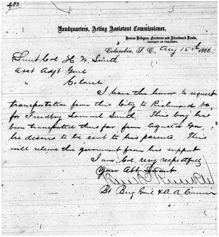 "Freedmen's Bureau Transportation Records: Letters of ""Sold"
