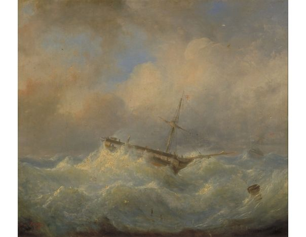 Ship in Distress; Artist: Raden Saleh; Year: 1842; Country: Indonesia; Medium: oil on canvas; Dimensions: 38 x 44 cm