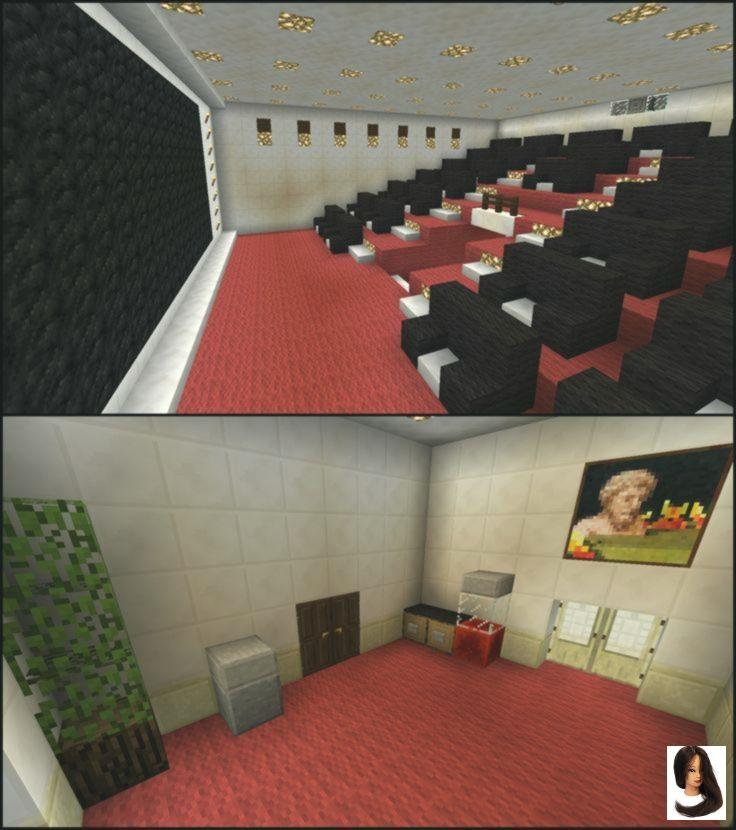 Minecraft Movie Theater Cinema Minecraft Blueprints Minecraft Houses Minecraft Mansion