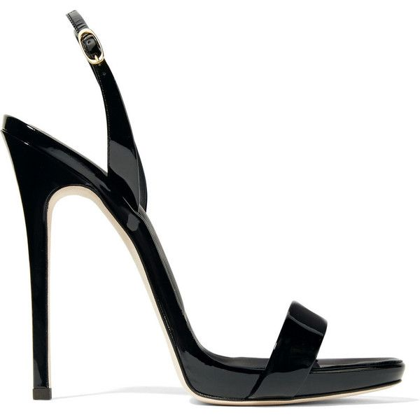 Giuseppe Zanotti Sophie patent-leather slingback sandals (1,705 PEN) ❤ liked on Polyvore featuring shoes, sandals, giuseppe zanotti, heels, black heeled sandals, black patent leather sandals, high heeled footwear, strappy high heel sandals and strap heel sandals
