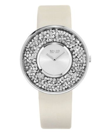 This Ivory & Silver Stud-Filled Leather-Strap Watch is perfect! #zulilyfinds