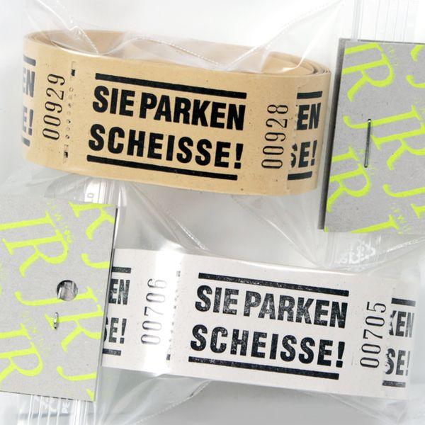 """Wertmarken """"SIE PARKEN SCHEISSE!"""" // token """"bad parking"""" by JR sewing via DaWanda.com"""
