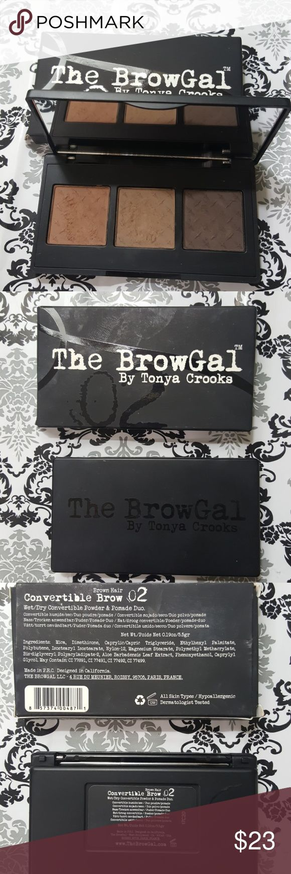 Tonya Crooks the browGal The browGal by Tonya Crooks  Wet dry convertible powder and Pomade Duo. Brown hair number two.  Swatched a few times. Box included. The compact plastic hinge is broken. Literally just happened as I was taking the pictures!! 🤦‍♀️😣  It's a great product. I just have a lot of brow stuff.  ✌️💕🙏 the browGal Makeup Eyebrow Filler