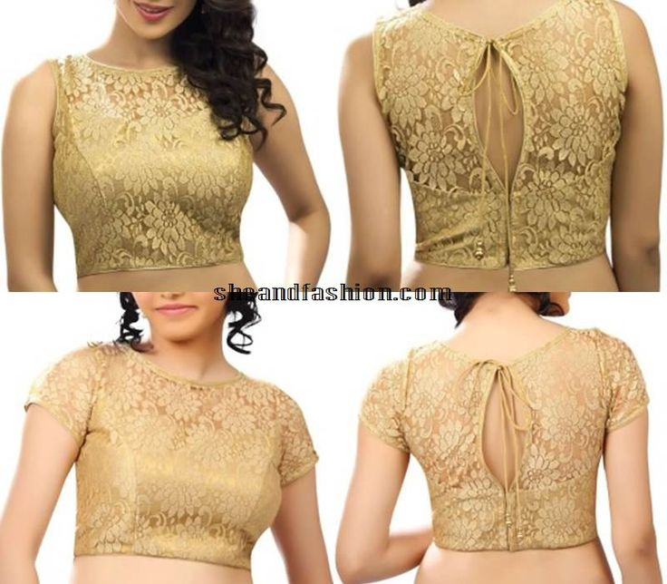 gold-boat-neck-blouse-designs-for-silk-sarees
