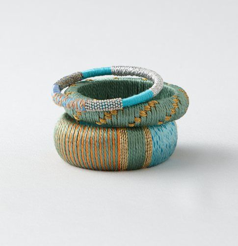 Thread Wrapped Embroidered Bangle Set #LOFTSummerGetaway
