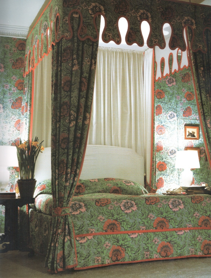 Bedroom at Kelvedon Hall, Essex, 1966 designed by David Hicks.
