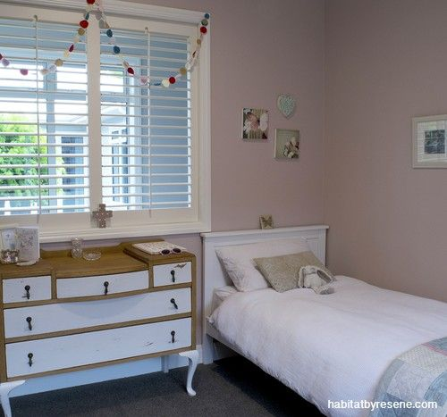 Sara didn't want anything too saccharine for her daughters Inara and Amira's bedroom. She chose Resene Blanched Pink, describing it as a beautiful, subtle and almost grown-up pink.