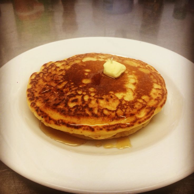 Good morning with Pancakes garnished butter and money