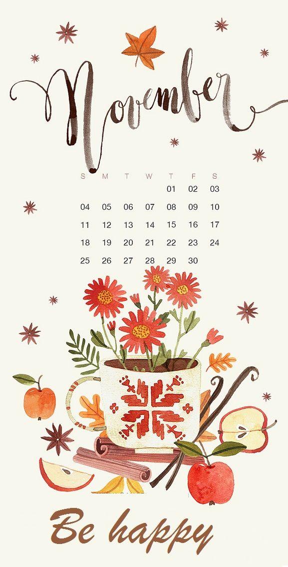 Cute November 2018 iPhone Wallpaper Calendar wallpaper