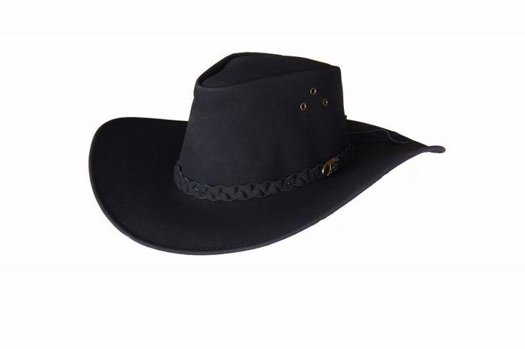 1155 Jabiru Black. PU Suede Hat by Jacaru. Wide Brim. Leather Plaited Hatband and Brass Jacaru Badge.