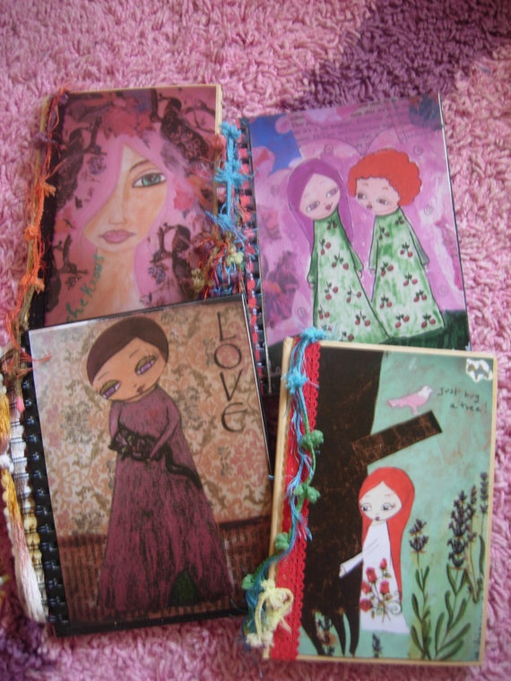 The Fabric and Lace art journal collection mixed media by eltsamp, $58.00