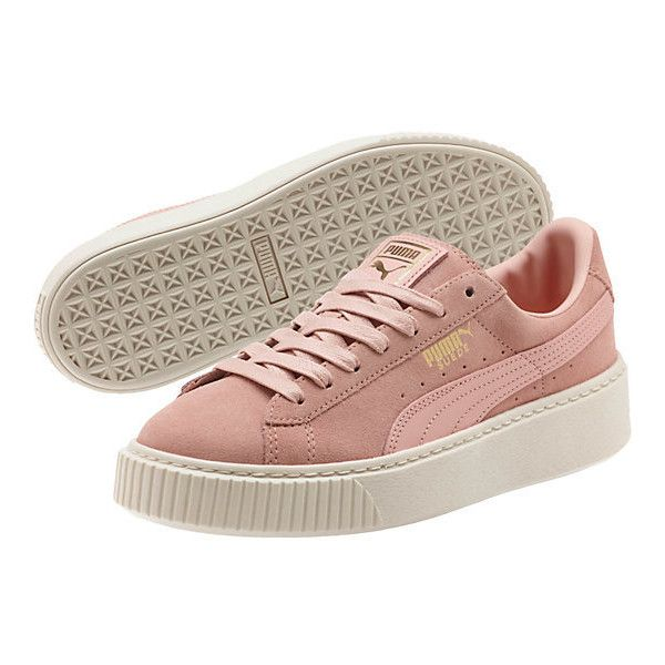 Suede Platform Core Women's Sneakers (725 GTQ) ❤ liked on Polyvore featuring shoes, sneakers, platform lace up shoes, lace up shoes, platform trainers, metallic shoes and suede shoes