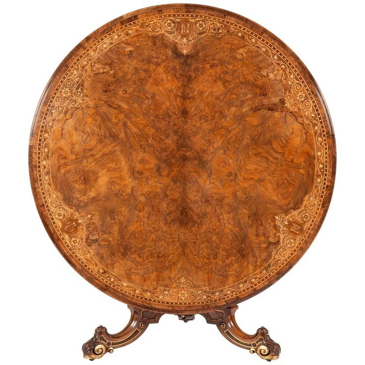 19th Century English Walnut with Marquetry Center Table | From a unique collection of antique and modern center tables at https://www.1stdibs.com/furniture/tables/center-tables/