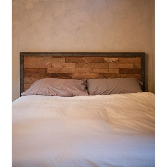 Reclaimed Wood and Iron Steel Headboard
