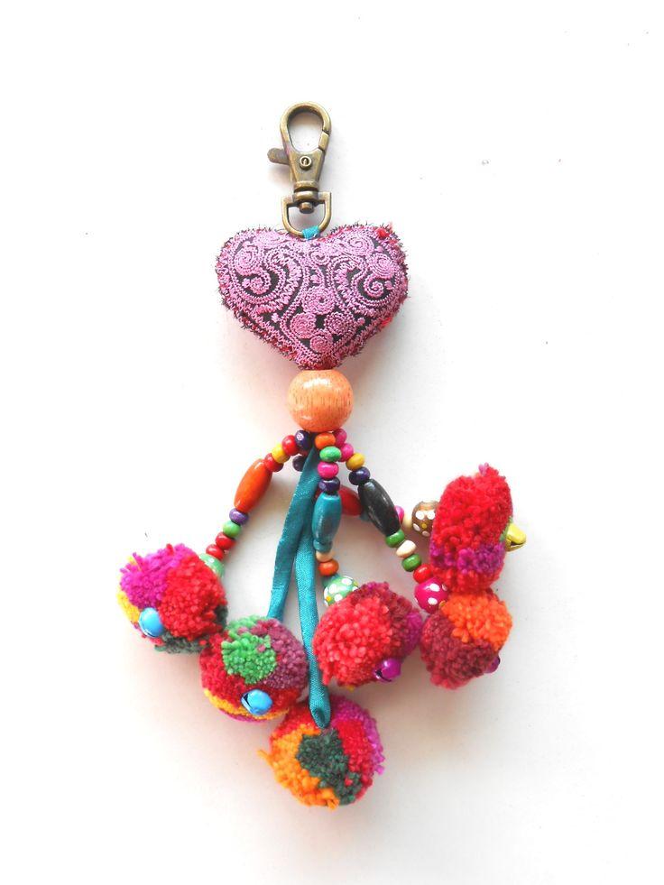 Heart Hanging Little Pom Poms Keychain from Golden World on Storenvy